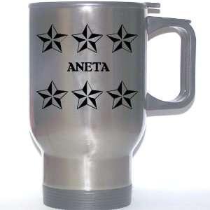 Personal Name Gift   ANETA Stainless Steel Mug (black