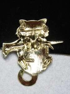 AJC Light Gold Tone KITTY/ CAT /KITTEN Pin Brooch
