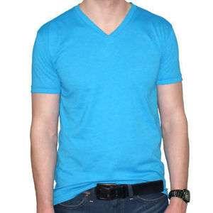 New Noveno Mens Fitted Turquoise Blue V Neck T Shirt Premium Fit Plain