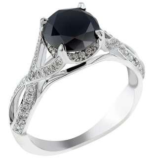 52 Carat Black Diamond Engagement Ring Vintage Style 18K White Gold