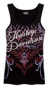 Harley Davidson Womens Allover Print Tank Top with Embellishments