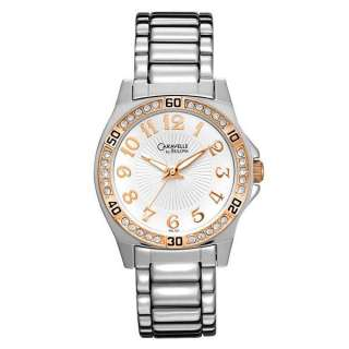 BY BULOVA ROSE GOLD TONE SWAROVSKI CRYSTAL DIAL WOMENS WATCH 45L127