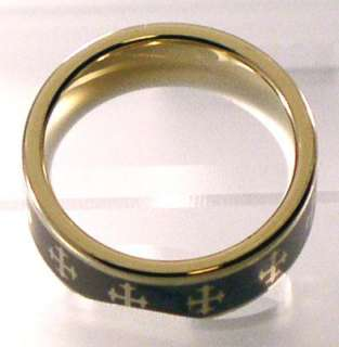 Tungsten Gold Tone Ring w Gothic Crosses sz 9.5   15