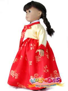 Gold Silk Korean Traditional Dress For 18 American Girl Doll