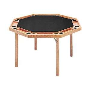 Wood Octagonal Poker Table with Black Vinyl Top