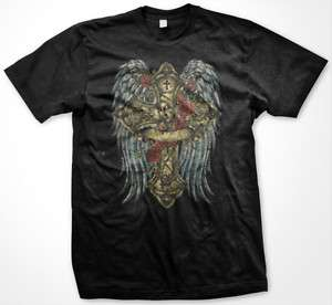 Cross Virgin Mary Angel Wings Religious Mens T Shirt