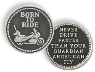 BORN TO RIDE   GUARDIAN ANGEL PEWTER POCKET TOKEN COIN