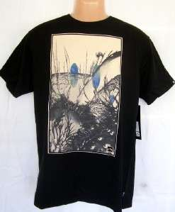 New RUSTY Mens Arcane Black Tee T Shirt Surf Top LARGE