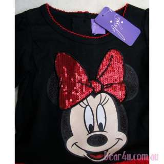 BNWT Girls shinning Minnie Mouse long sleeve black one piece dress