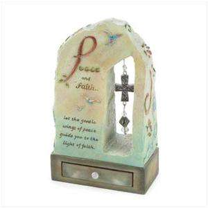 Stone look Peace and Faith Spiritual TRINKET/Keepsake BOX~Doves