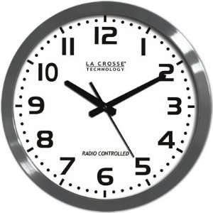 16 Round Stainless Steel Atomic Clock with Large Numbers: Electronics
