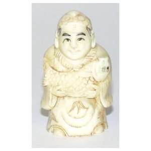 Man Holding Fish ~ Bone Netsuke