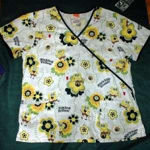 Womens SPONGEBOB TICKLED YELLOW uniform scrub top large