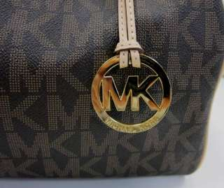 Authentic Michael Kors Grayson Brown MK Logo Large Satchel Bag