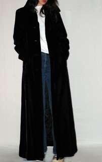 Vintage GOTHIC Princess LONG BLACK VELVET COAT Opera Goth Vamp Dress