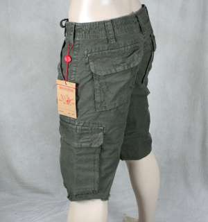 True Religion Jeans Mens ISAAC Cargo Tonal SHORTS army green