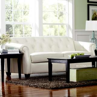 Classic Retro White Leather Sofa Couch 502551 Kristyna Button Tufting