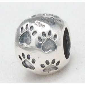 E34 Dog / Cat Paw Print Solid Silver European Bead Charm Fits Pandora