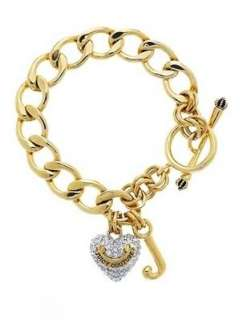 Auth Juicy Couture Silver / Gold Pave Heart Starter Bracelet