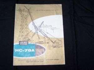 Link Belt Speeder HC 78 A Truck Crane Bulletin