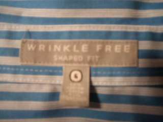 FOXCROFT Shirt Top Wrinkle Free Shaped Fit Sz 6 Blue White Striped