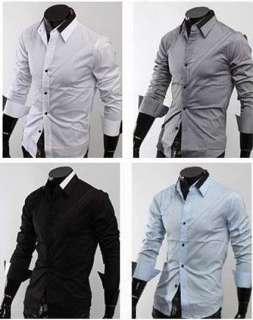 NEW Mens Casual Slim Fit Stylish Dress Shirts h09 M XL
