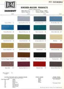 1971 OLDSMOBILE PAINT COLOR SAMPLE CHIPS CARD COLORS
