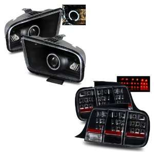 05 09 Ford Mustang Black LED Halo Projector Headlights (2010 Style