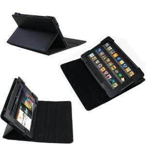 Navitech Black Genuine Premium Leather Flip Carry Case With 3 Point