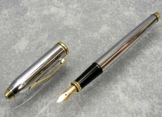 Cross Townsend Medalist Fountain Pen In Polished Chrome and 23 Karat