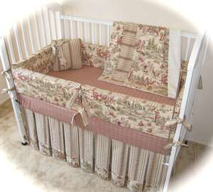 ANTIQUE LICKETY SPLIT TOILE BABY CRIB BEDDING SET NEW