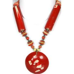 Red and Ivory Beaded Necklace   Beads