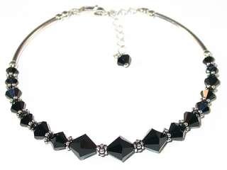 SWAROVSKI CRYSTAL ELEMENTS Bali Sterling Silver Bracelet JET BLACK