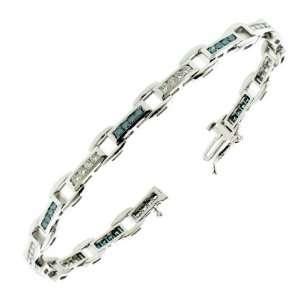 55 CT TW Channel Set White & Blue Diamond Tennis Bracelet in 14k