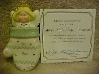 LENOX STARRY NIGHT ANGEL IN A MITTEN ORNAMENT 2 PIECE SET NEW IN THE