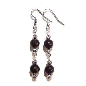 The Black Cat Jewellery Store Black Obsidian & Tibetan Silver Earrings