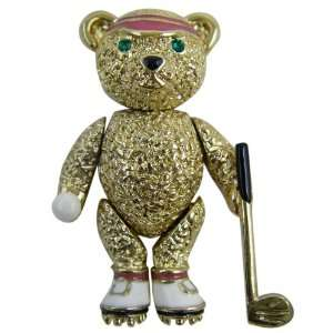 Bear Pin   Classic Gold Plated Golfer Teddy Bear Lapel Pin Necklace