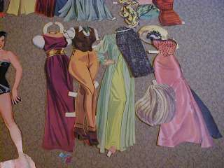 Vintage PAPER DOLLS 1950s Jane Russell w Clothes Lot