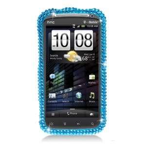 For HTC SENSATION 4G FULL DIAMOND CASE Aqua Blue Bling Phone Cover