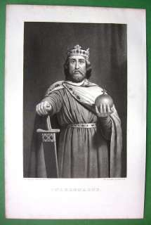 KING CHARLEMAGNE Portrait in Royal Robe   SUPERB Antique Print
