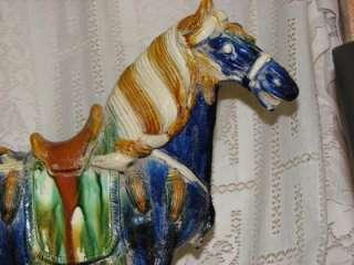 TANG TYPE SANCAI BLUE GLAZED LG POTTERY WAR HORSE VINT