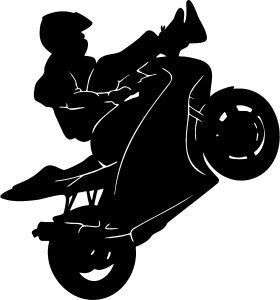 SPORT BIKE STUNT RIDING STICKER/DECAL CHOOSE SIZE/COLOR