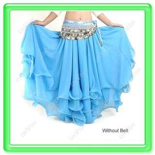 NWT Three Layers Costume Chiffon Belly Dance Skirt New