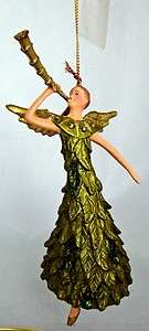 Angel Playing Horn Trumpet Ornament Music Hand Painted NEW