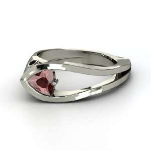 Profile Ring, Trillion Red Garnet Sterling Silver Ring with Black Onyx