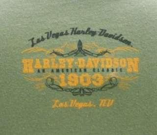 Las Vegas Harley Davidson Dealer Tee T Shirt Green LG