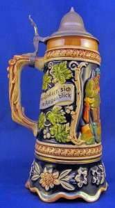 VINTAGE/ANTIQUE GERMAN LIDDED BEER STEIN WITH WORKING MUSIC BOX