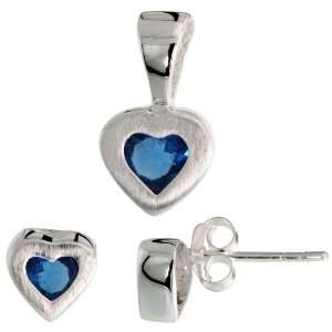 tall) Set, w/ Princess Cut Blue Sapphire colored CZ Stones Jewelry