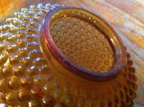 Vintage Amber Hobnail Hurricane Oil Lamp Shade Globe
