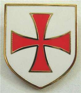 Crusaders Templar Knights Order Shield Cross Lapel Pin